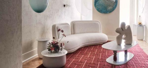 bouclé weißes sofa trend