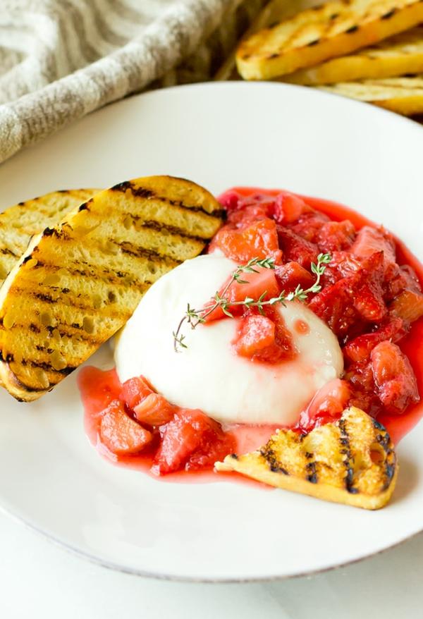 burrata rezept dessert erdbeeren