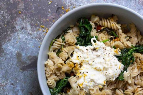 burrata rezept pasta mit spinat
