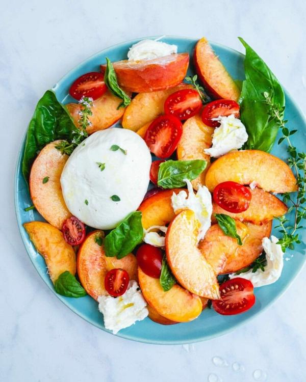 burrata rezept pfirsich salata