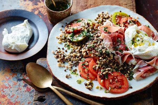 burrata rezept salat parmaschinken