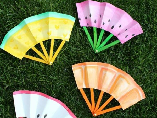 einfache fächer basteln mit kindern aus papier