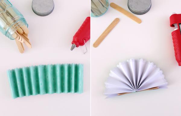 fächer basteln aus papier stoff holzstäbchen