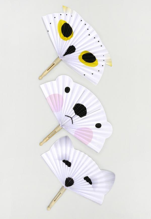 fächer basteln aus papier tiere