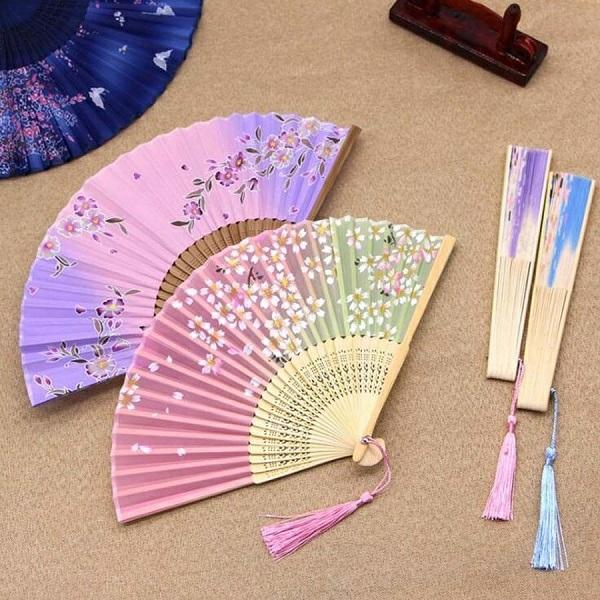 fächer basteln aus stoff und bambus