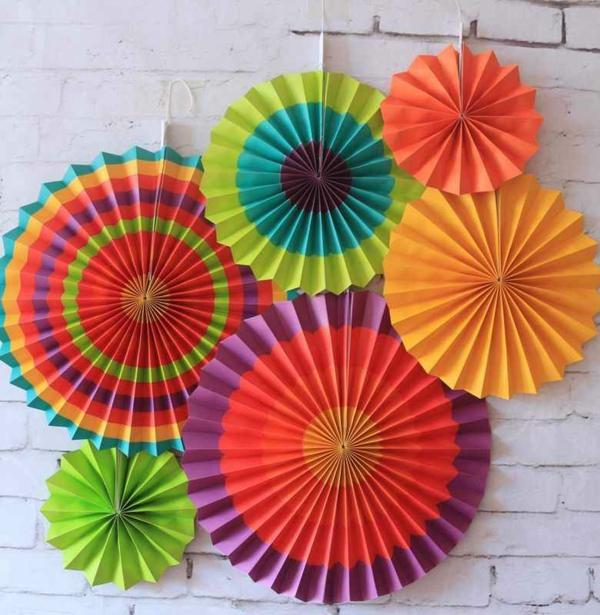 fächer basteln wand deko party