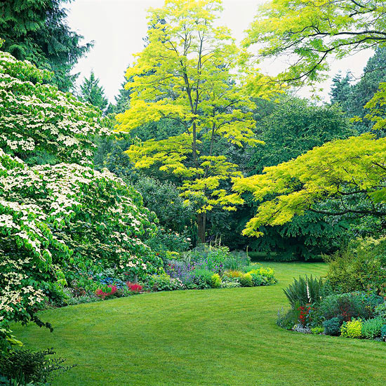 mehr Farbe in den Garten bringen ein Traumgarten grüner Rasen üppige Büsche und schöne grüne Bäume herrlicher Blick