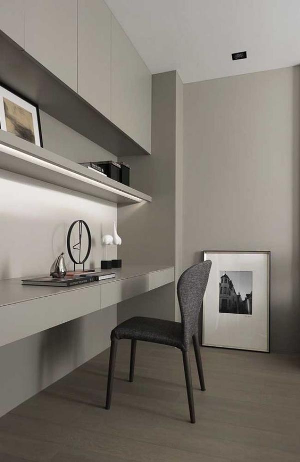 minimalistisches Home-Office wenig Deko ein Bild angelehnt an die Wand zurückhaltend dekorieren