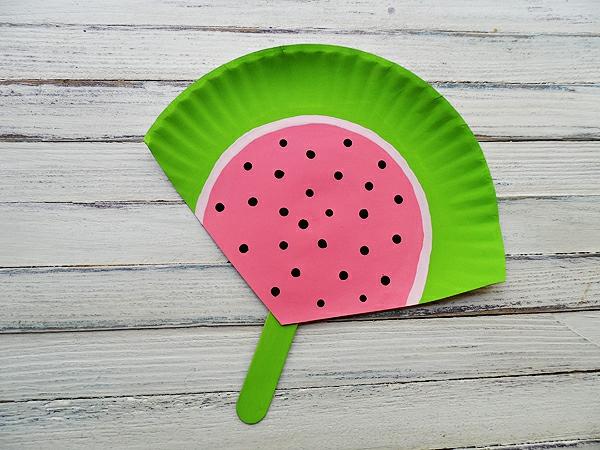 papierteller fächer basteln wassermelone