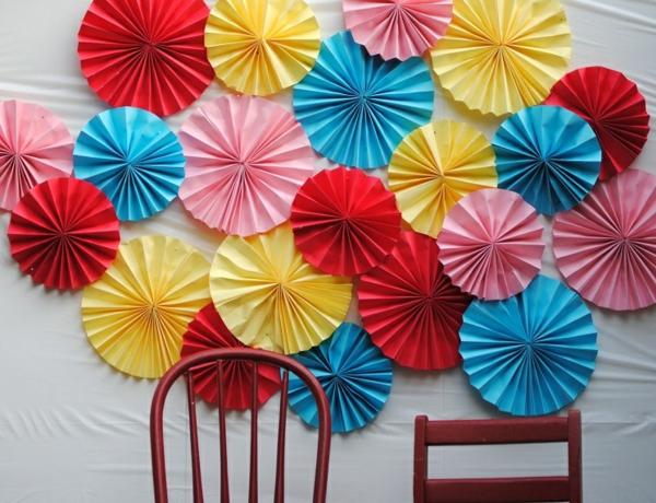 party wanddeko fächer basteln aus papier