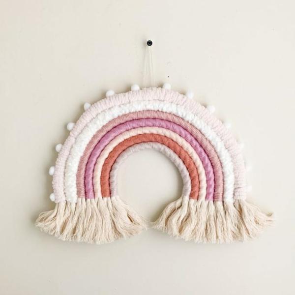 regenbogen wanddeko babyzimmer aus makramee selber machen