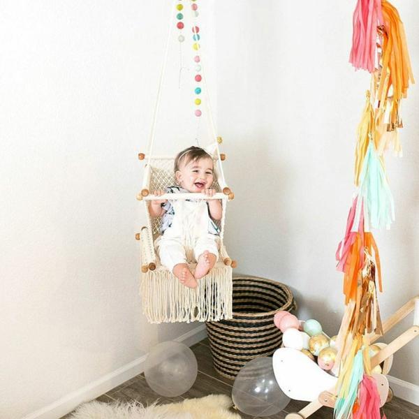 schaukel makramee ideen babys