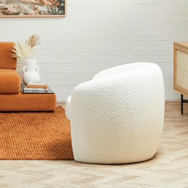 sessel aus bouclé moderne einrichtung wohnzimmer