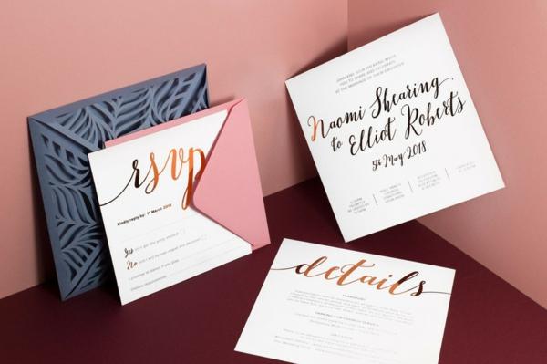 stilvolle Ideen für Einladungskarten Hochzeit