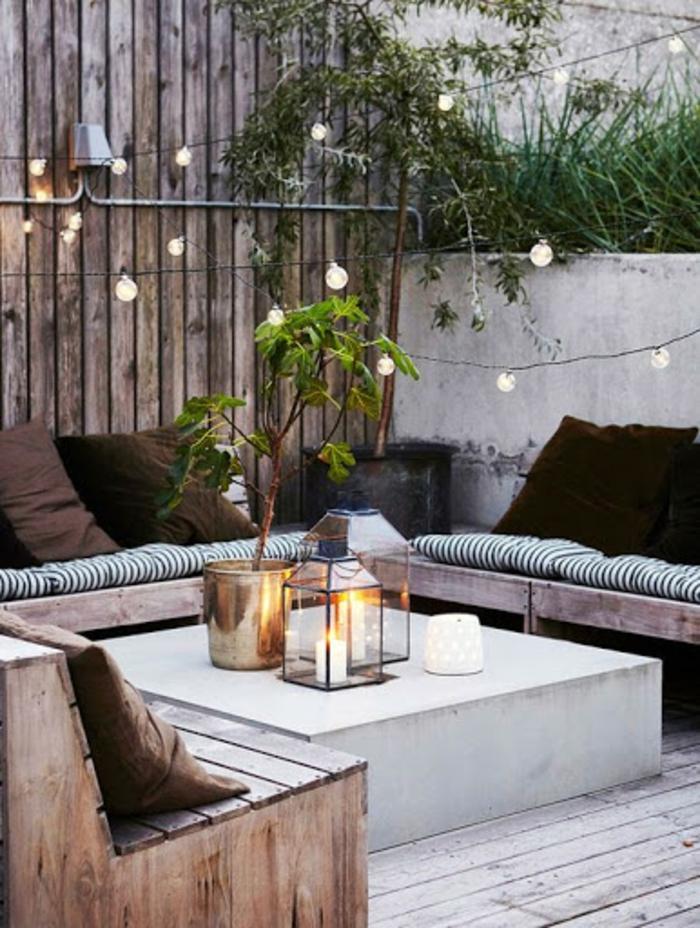 terrasse dekorieren outoddor deko licht