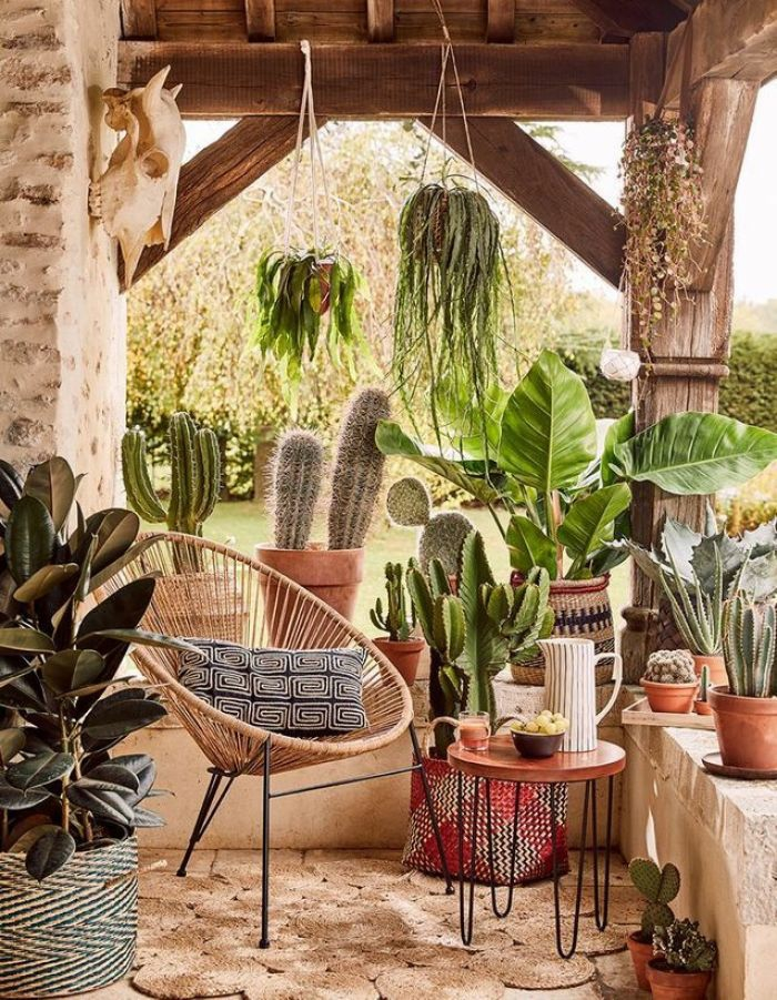 terrasse dekorieren outoddor deko tropisch