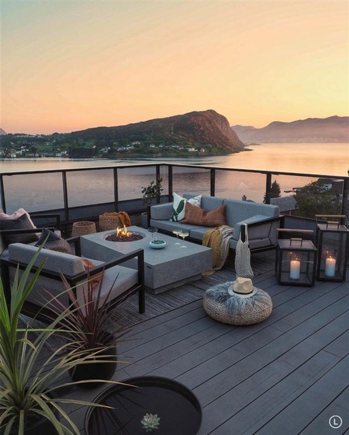 terrasse dekorieren outoddor deko windschutz