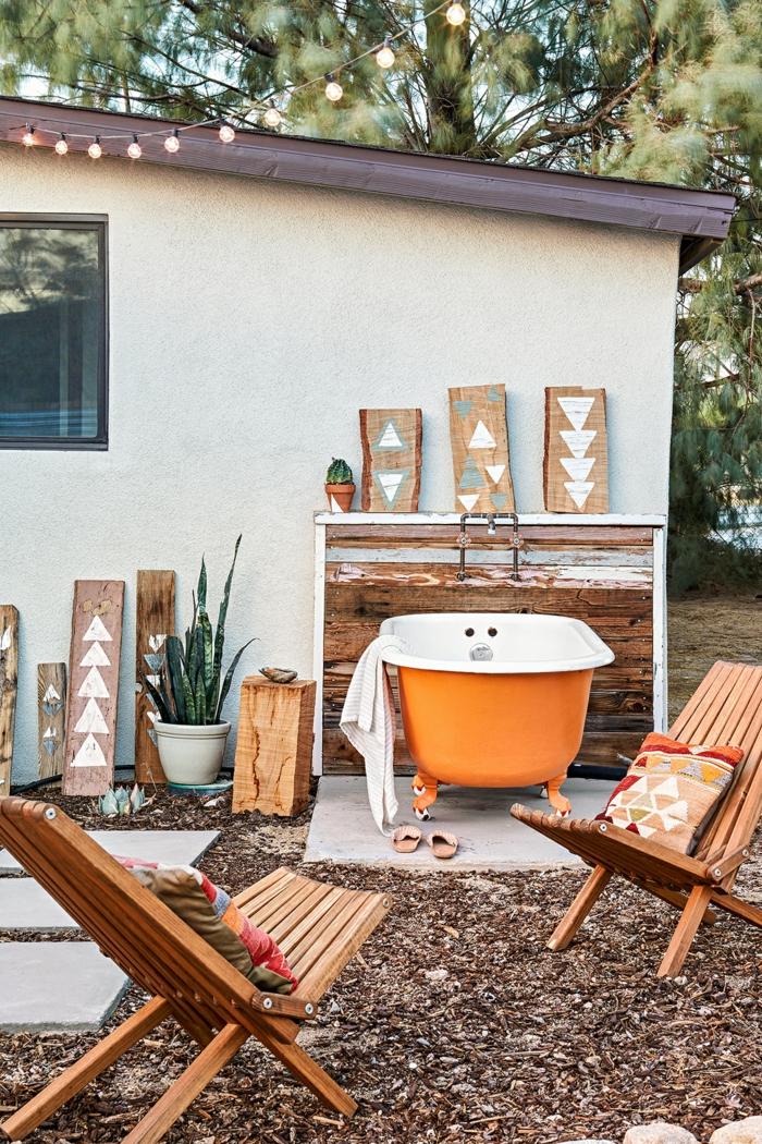 terrasse dekorieren outodoor deko badewanne