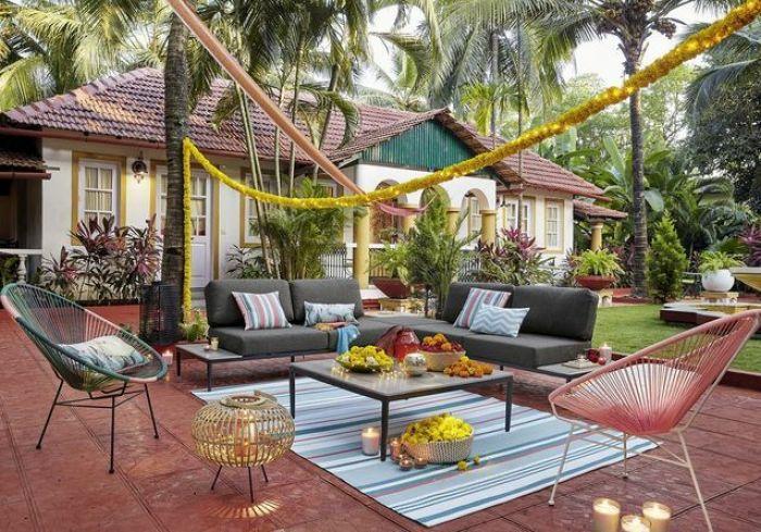 terrasse dekorieren outodoor deko badewanne festlich