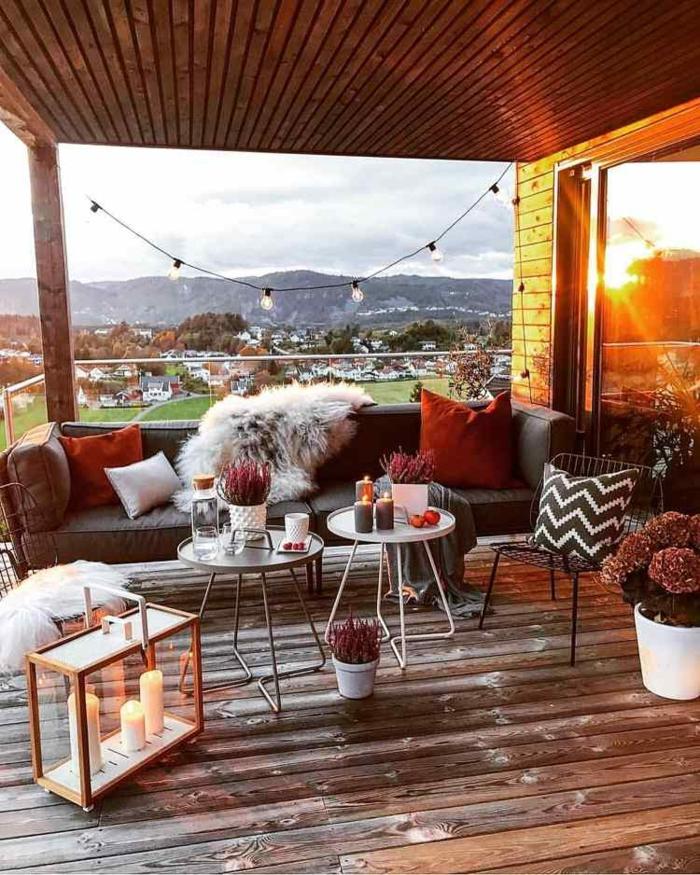 terrasse dekorieren outodoor deko badewanne festlich bodenteppich kuehle abende herbst