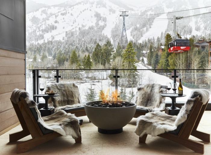 terrasse dekorieren outodoor deko badewanne festlich winter