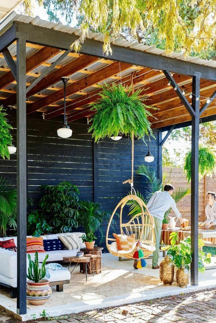 terrasse dekorieren outodoor deko badewanne festlich winter pergola