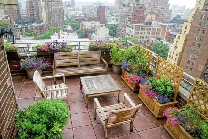 terrasse dekorieren outodoor deko dachterrasse sicht