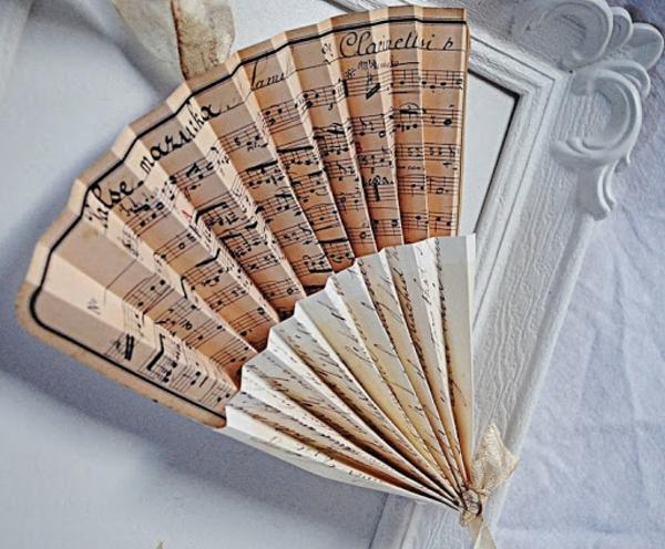 vintage fächer basteln aus notenpapier