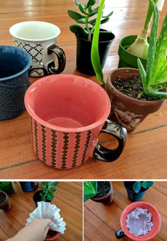 Alte Tassen DIY Ideen blumen einpflanzen