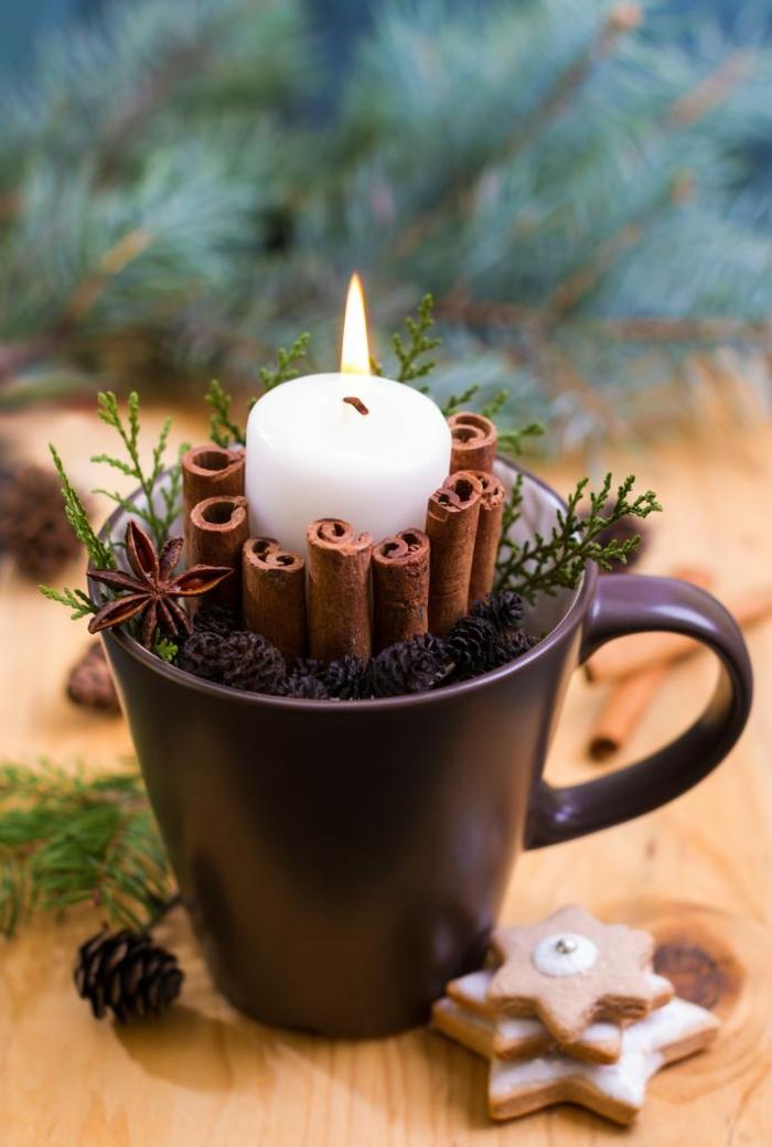Alte Tassen DIY Ideen weihnachtsdeko kerze