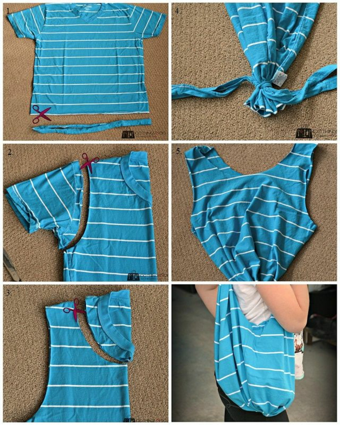Altes T-Shirt Upcycling ideen tasche