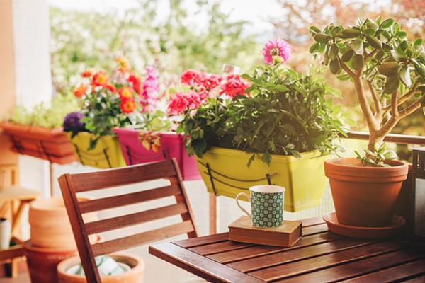 Balkonpflanzen für Faule schön gestalteter Balkon bunte Blumenkästen am Geländer schöne Blüten in verschiedenen Farben