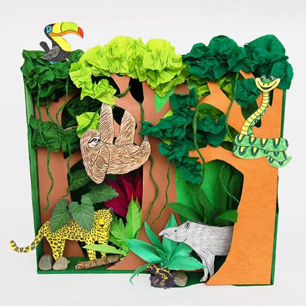 Construir um diorama - ideias criativas e dicas para artistas e amadores diorama da floresta tropical ideias diy crianças
