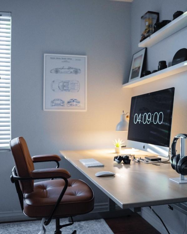 Ein Heimbüro einrichten, um Ihre Produktivität zu optimieren einrichtung zeitgenössisch leder