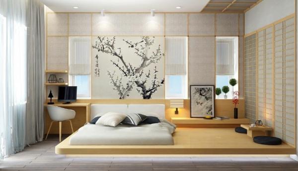 Fetonbett Schlafzimmer im japanischem Stil einrichten
