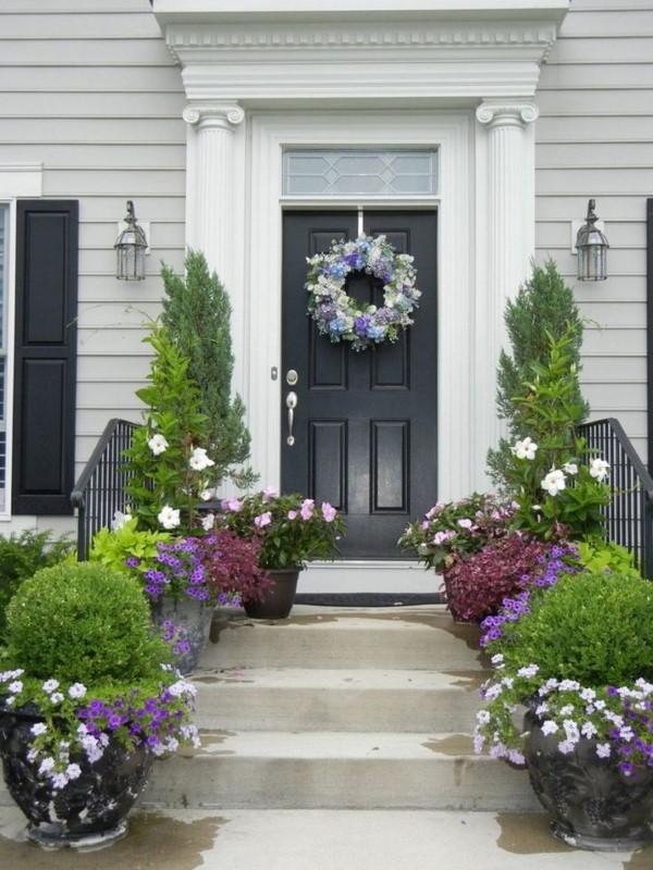 Sommer-Deko für den Eingangsbereich – hilfreiche Tipps und kreative Ideen kübelpflanzen eingang tür