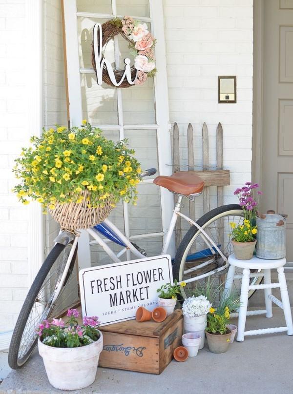 Sommer-Deko für den Eingangsbereich – hilfreiche Tipps und kreative Ideen landhaus stil fahrrad