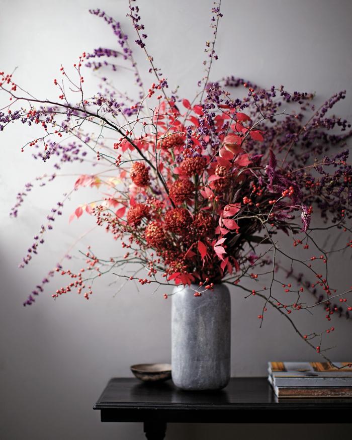 Trockenblumen Deko rot und lila