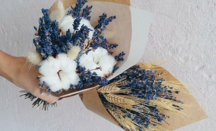 Trockenblumen Deko strauß baumwolle lavendel