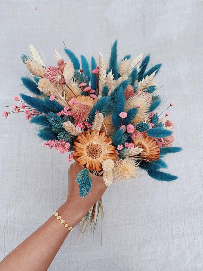 Trockenblumen Deko strauß blau