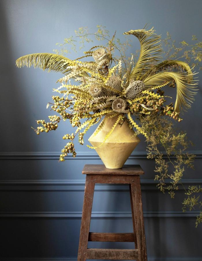 Trockenblumen Deko strauß gelb