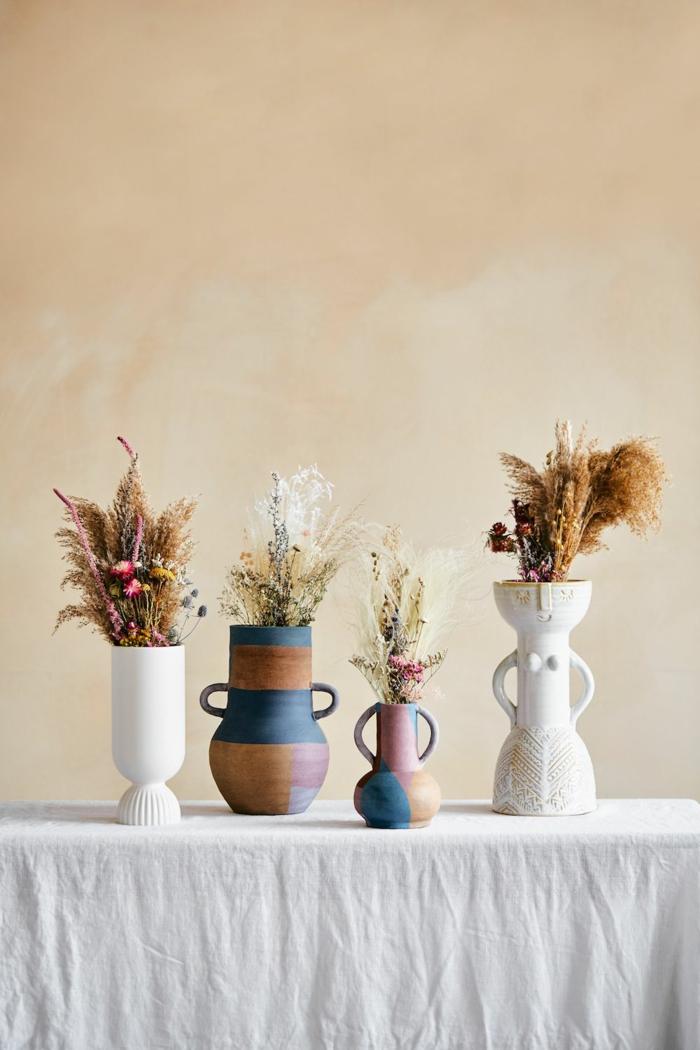 Trockenblumen Deko strauß getrocknete Blumen Deko Ideen Herbst basteln bunt