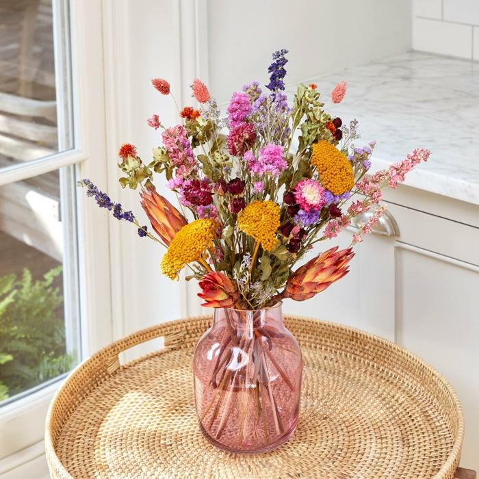 Trockenblumen Deko strauß getrocknete Blumen Deko Ideen Herbst basteln ideen feldblumen