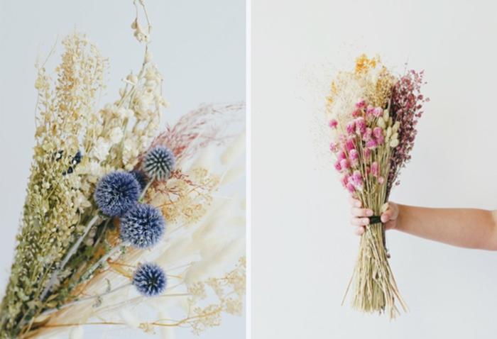 Trockenblumen Deko strauß getrocknete Blumen Deko Ideen Herbst basteln ideen mit blumen