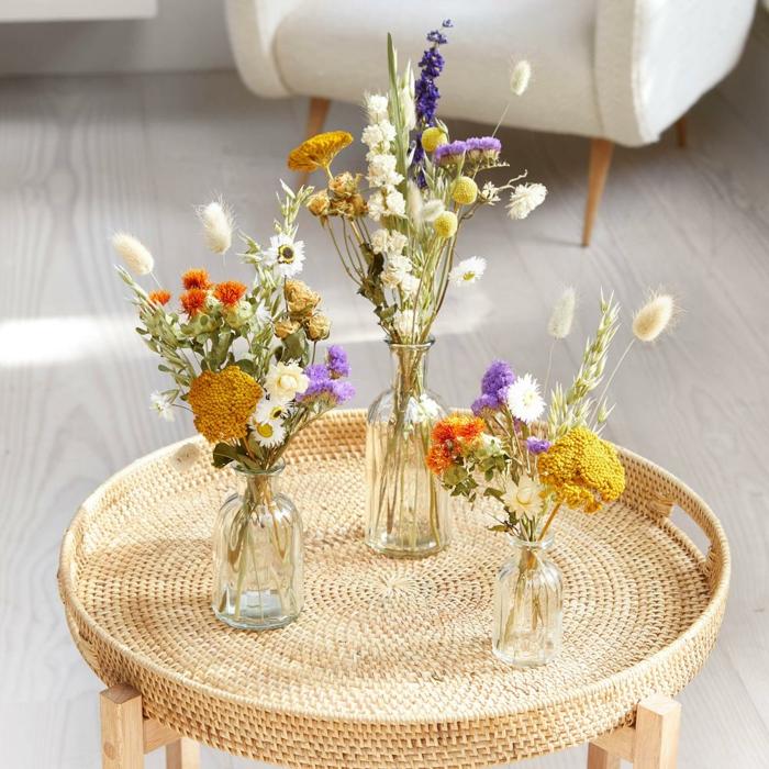 Trockenblumen Deko strauß im glas