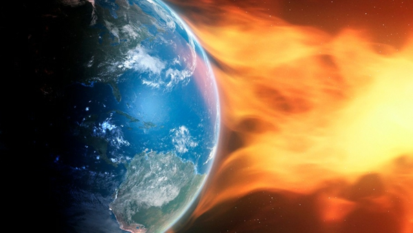 Earth and coronal mass ejection, illustration