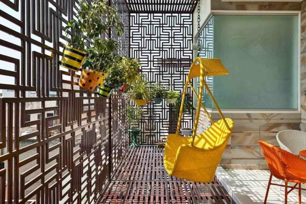 balkon sichtschutz ideen ausgefallene dekoideen farbige möbel