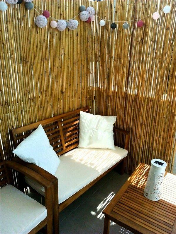 balkon sichtschutz ideen bambusmatte gemütliche erholungsecke schaffen