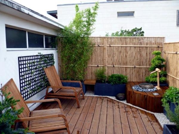 balkon sichtschutz ideen bambusmatte gemütlicher balkon