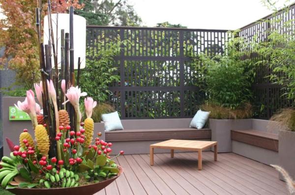 balkon sichtschutz ideen privatsphäre schützen viele pflanzen
